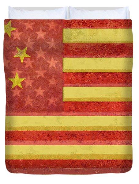 Chinese American Flag Blend Duvet Cover by Tony Rubino