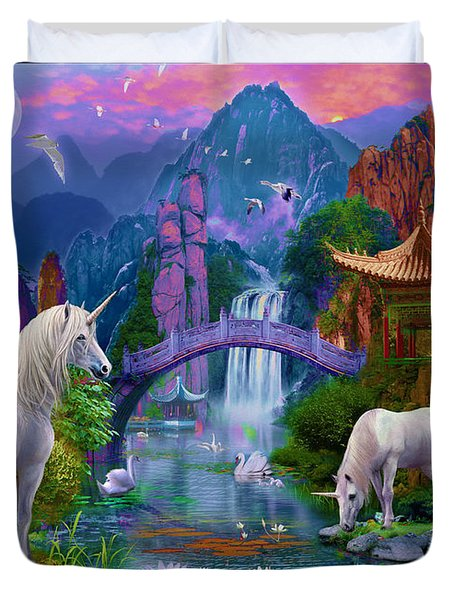 Chinese Unicorns Duvet Cover by Jan Patrik Krasny