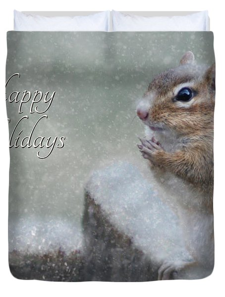 Chippy Christmas Card Duvet Cover by Lori Deiter