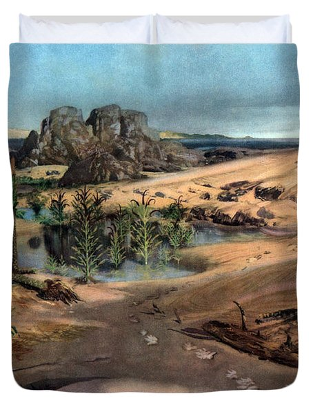 Chirotherium In Lower Triassic Landscape Duvet Cover by Science Source