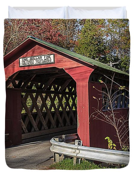 Chiselville Covered Bridge Duvet Cover by Edward Fielding