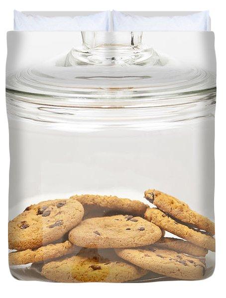 Chocolate Chip Cookies In Jar Duvet Cover by Elena Elisseeva