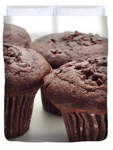Chocolate Chocolate Chip Muffins - Bakery - Breakfast Duvet Cover by Andee Design