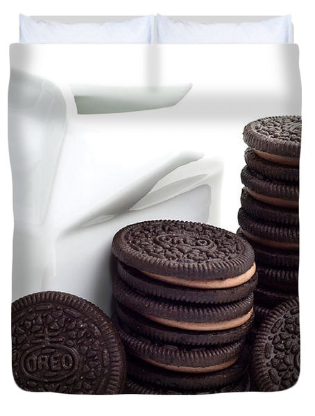 Chocolate Cream Oreos And Milk Duvet Cover by Andee Design