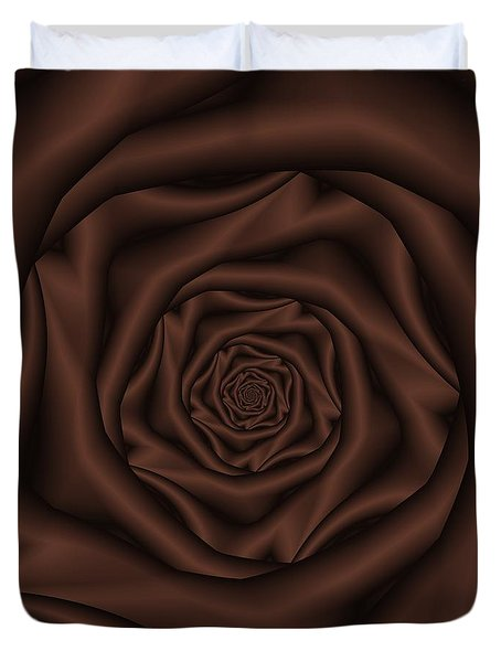 Chocolate Rose Spiral Duvet Cover by Colin  Forrest