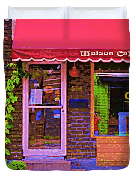 Chocolate Shop La Maison  Cakao Chocolaterie Boulangerie Patisserie Rue Fabre Montreal  Cafe Scene  Duvet Cover by Carole Spandau