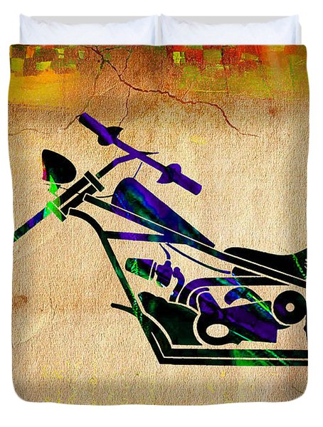 Chopper Motorcycle Painting Duvet Cover by Marvin Blaine