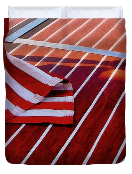 Chris Craft With American Flag Duvet Cover by Michelle Calkins