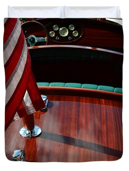 Chris Craft With Flag And Steering Wheel Duvet Cover by Michelle Calkins