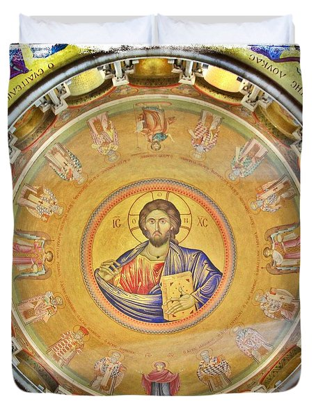 Christ Pantocrator -- Church Of The Holy Sepulchre Duvet Cover by Stephen Stookey