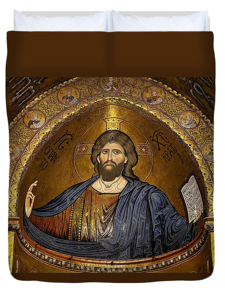 Christ Pantocrator Mosaic Duvet Cover by RicardMN Photography