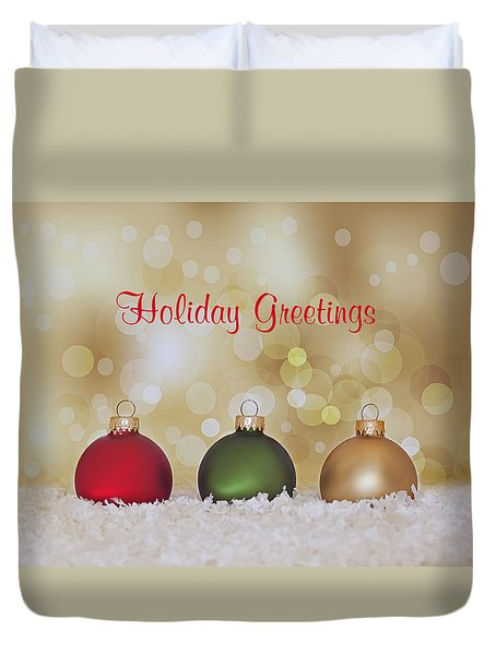 Christmas Baubles Duvet Cover by Kim Hojnacki
