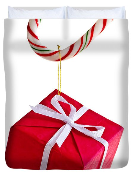 Christmas Candy Cane And Present Duvet Cover by Elena Elisseeva