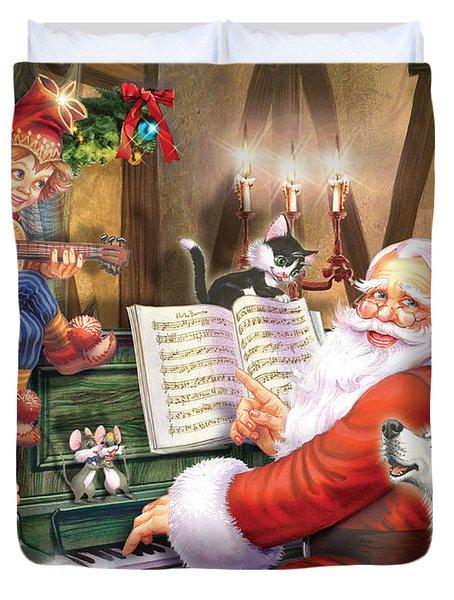 Christmas Carols Duvet Cover by Zorina Baldescu