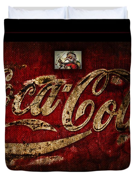 Christmas Coca Cola 1881 Santa Duvet Cover by John Stephens