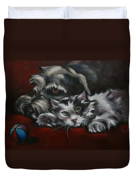 Christmas Companions Duvet Cover by Cynthia House