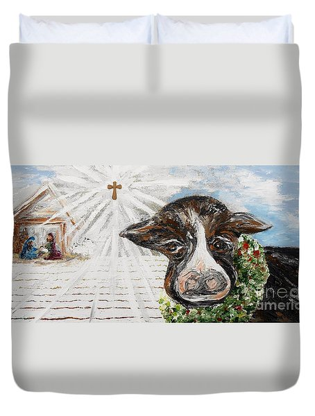 Christmas Cow - Oh to Have Been There... Duvet Cover by Eloise Schneider