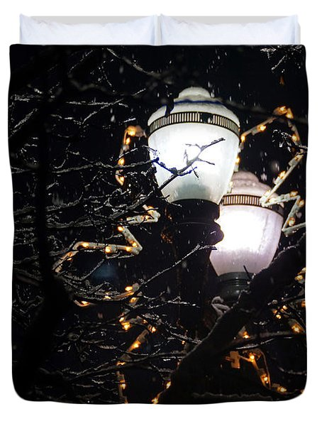 Christmas Light Post - Grants Pass Duvet Cover by Mick Anderson