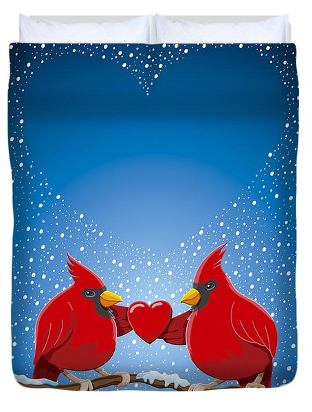 Christmas Red Cardinal Twig Snowing Heart Duvet Cover by Frank Ramspott