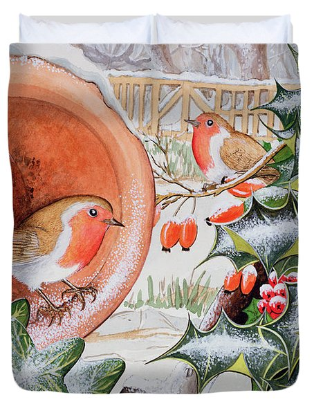 Christmas Robins Duvet Cover by Tony Todd