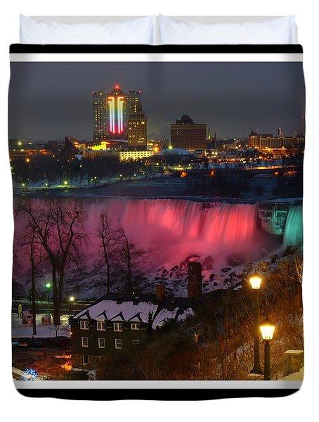 Christmas Spirit At Niagara Falls - Holiday Card Duvet Cover by Lingfai Leung