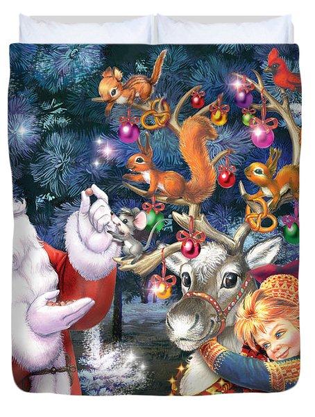 Christmas Tree-rudolph Duvet Cover by Zorina Baldescu