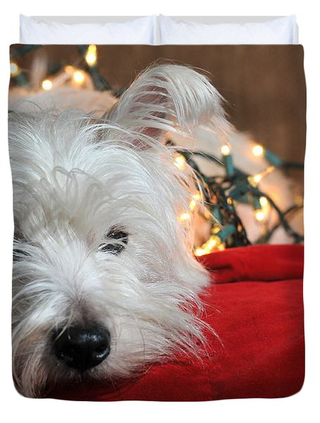 Christmas Westie Duvet Cover by Catherine Reusch  Daley