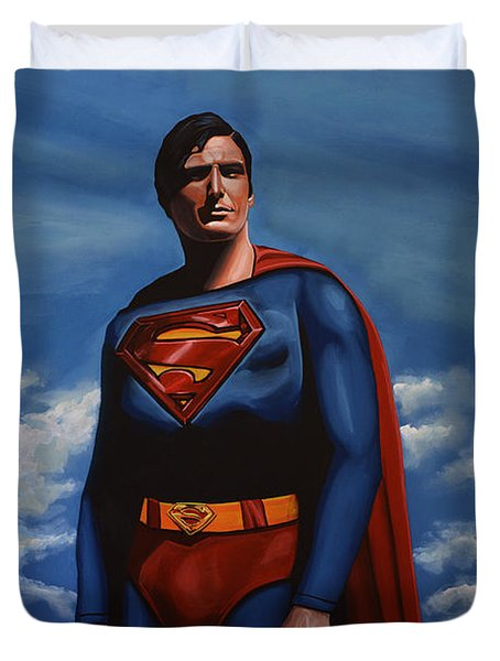 Christopher Reeve as Superman Duvet Cover by Paul  Meijering