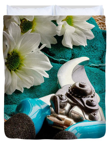 Chrysanthemum Cuttings Duvet Cover by John Edwards