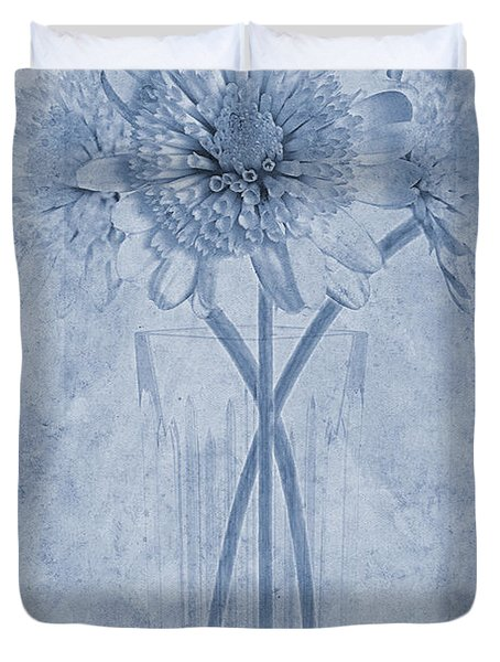 Chrysanthemum Cyanotype Duvet Cover by John Edwards