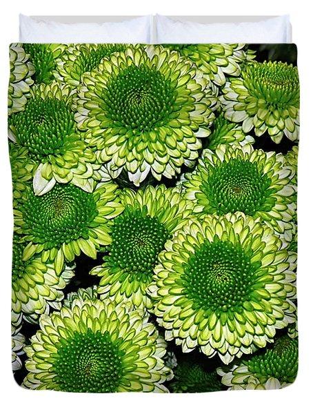 Chrysanthemum Green Button Pompon Kermit Duvet Cover by Kaye Menner