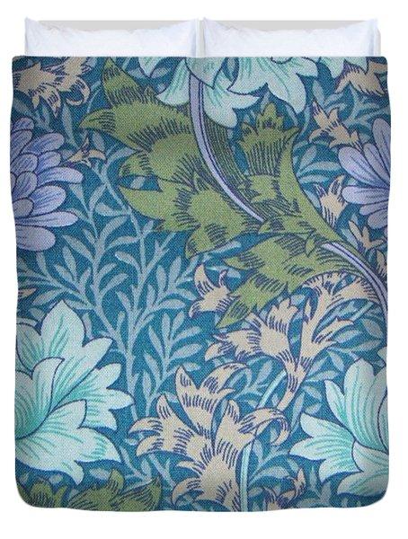 Chrysanthemums in Blue Duvet Cover by William Morris
