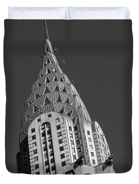 Chrysler Building Bw Duvet Cover by Susan Candelario