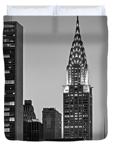 Chrysler Building New York City Bw Duvet Cover by Susan Candelario