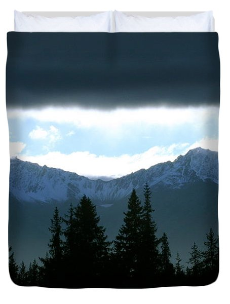 Chugach Mountains Duvet Cover by Crystal Magee