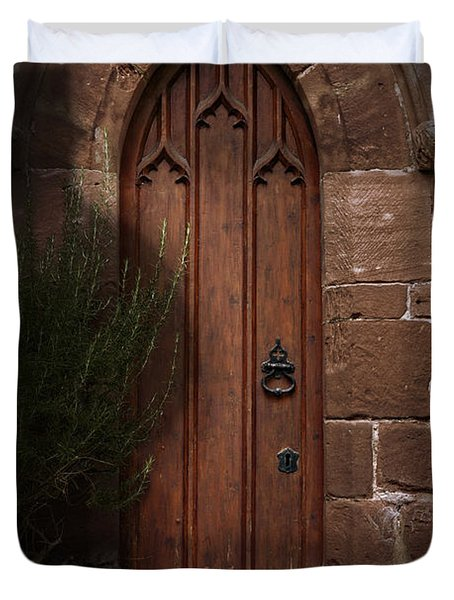 Church Door At Halloween Duvet Cover by Amanda Elwell