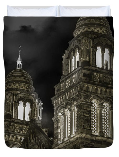Church Lights On St. Peter Cathedral Duvet Cover by Optical Playground By MP Ray