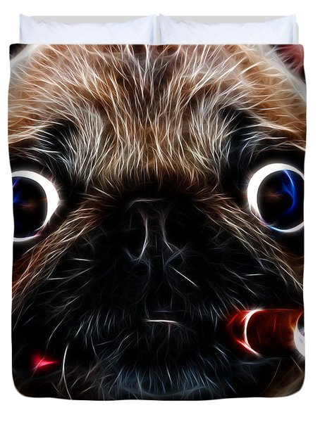 Cigar Puffing Pug - Electric Art Duvet Cover by Wingsdomain Art and Photography