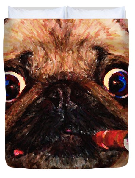 Cigar Puffing Pug - Painterly Duvet Cover by Wingsdomain Art and Photography