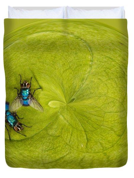 Circle Of Flies Duvet Cover by Jean Noren