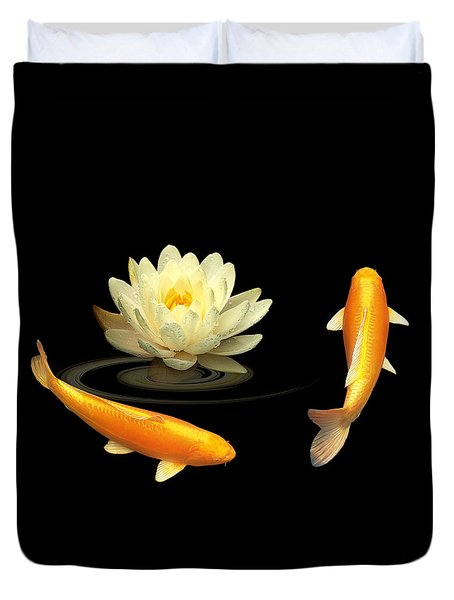 Circle Of Life - Koi Carp With Water Lily Duvet Cover by Gill Billington