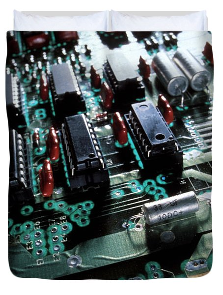 Circuit Board Duvet Cover by Jerry McElroy