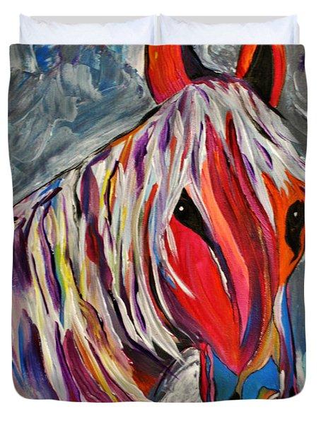 Cisco Abstract Horse  Duvet Cover by Janice Rae Pariza