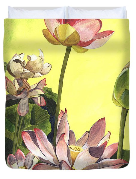 Citron Lotus 1 Duvet Cover by Debbie DeWitt