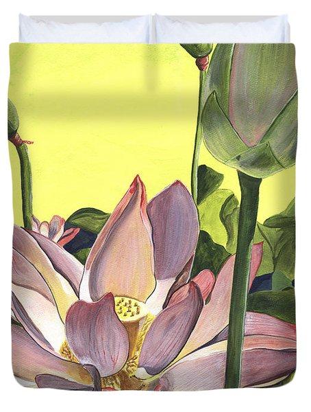 Citron Lotus 2 Duvet Cover by Debbie DeWitt