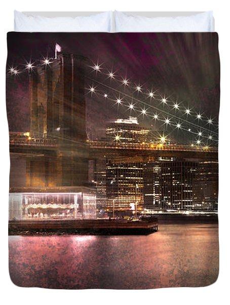 City-art Brooklyn Bridge Duvet Cover by Melanie Viola