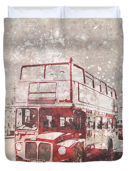 City-art London Red Buses II Duvet Cover by Melanie Viola