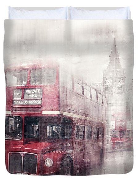 City-art London Westminster Collage II Duvet Cover by Melanie Viola