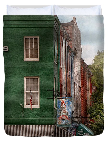 City - Baltimore - Fells Point MD - Bertha's and The Greene Turtle  Duvet Cover by Mike Savad