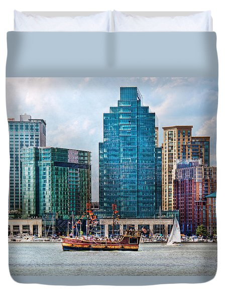 City - Baltimore MD - Harbor east  Duvet Cover by Mike Savad